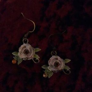 Pale Purple Rose Earrings